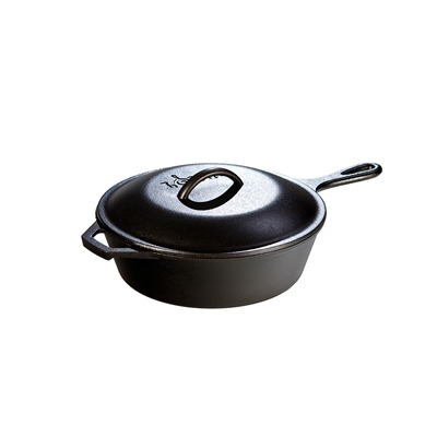 Lodge 5 Quart Cast Iron Covered Deep Skillet 12″