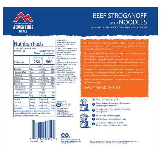 Mountain House Beef Stroganoff Back