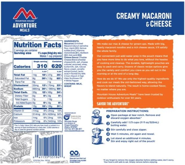 Mountain House Cresmy Macaroni & Cheese Back